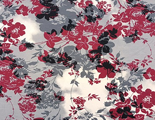 Organic Cotton Spandex Print #4 Fabric by Yard Jersey Knit Gray Red 8/2/17