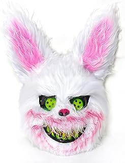 Mimgo-shop Scary Halloween Bunny Mask for Men & Boys, Bloody Creepy Animal Head Mask, Spooky Plush Rabbit Mask Easter Cost...