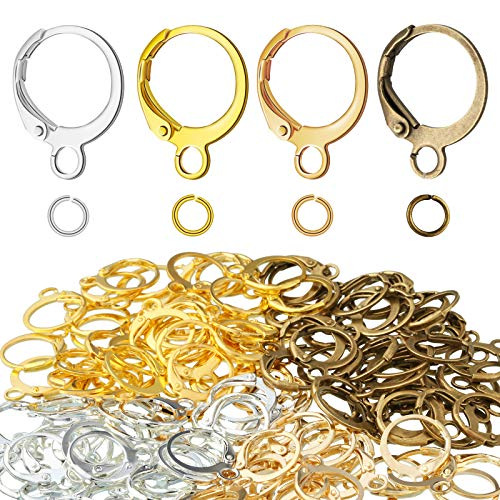 360 Pieces Round Lever Earring Hooks with Open Jump Rings Set, Round French Hook Ear Wire and DIY Jump Hooks for Women Jewelry Crafts Making, 4 Colors