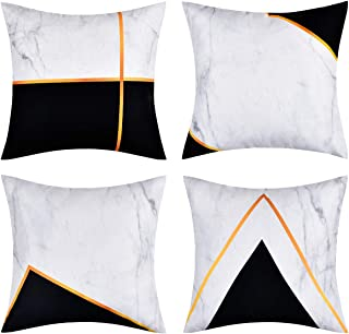 BLEUM CADE Geometric Throw Pillow Cover Modern Geometry and Marbling Pillow Covers Set of 4 Decorative Throw Pillow Case for Sofa Bed Car Office (Black White, 18 x 18 Inch)