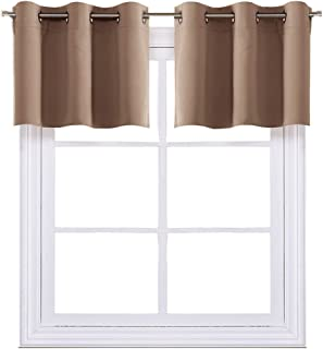 NICETOWN Short Curtains Blackout Nursery Valance - Thermal Insulated Light Reducing Drapes for Baby's Bedroom (1 Pair, 42W by 18L + 1.2 inches Header, Cappuccino)