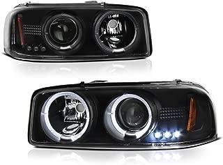VIPMOTOZ For 1999-2006 GMC Sierra 1500 2500 3500 Yukon XL Halo Headlights Headlamps, Driver and Passenger Side