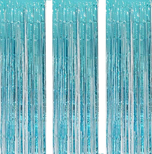 3 Pack 3.2ft x 6.6ft Turquoise Metallic Foil Fringe Backdrop Tinsel Sparkle Door Window Curtain Backdrop for Birthday Bachelorette Wedding Christmas New Year Party Decorations