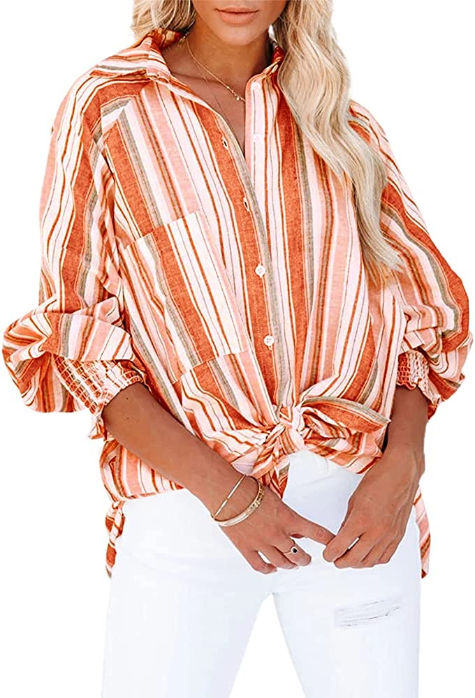 SySea Womens Button Down Shirts Long Sleeve Striped Casual Loose Blouse Tops with Pockets