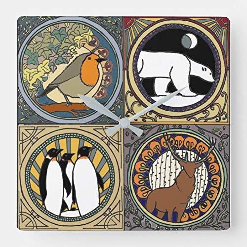 daoyiqi Quadratische 30,5 cm rustikale Bauernhaus-Holz-Uhr, Jugendstil, Winter, quadratische Wanduhr, nicht tickend, dekorative Uhr für Küche Wohnzimmer