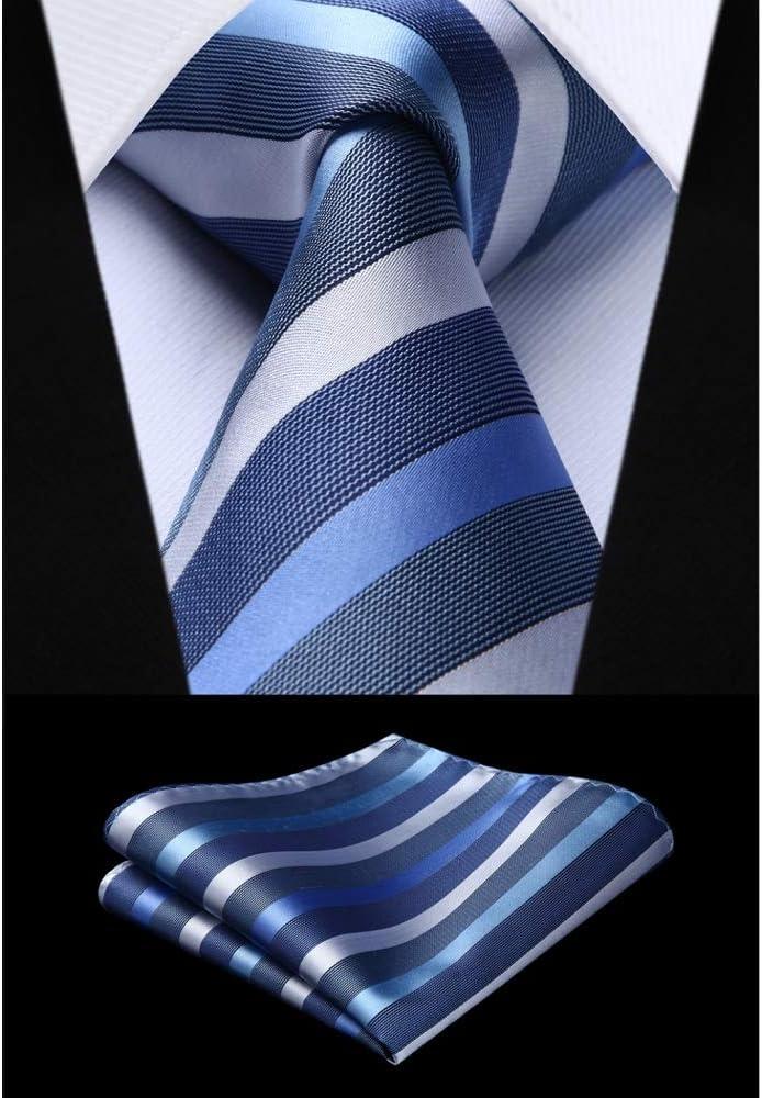 ZXCVBN Woven Men Tie Blue Striped Necktie Handkerchief Wedding Classic Fashion Pocket Square Tie