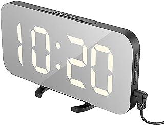 EXTSUD LED spegel väckarklocka, bärbar LED spegel väckarklockor, HD digital väckarklocka, bordsklocka reseklocka med stor ...