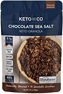 Keto Chocolate Sea Salt Granola by Keto and Co   Just 2.1g Net Carbs Per Serving   Gluten Free, Low Carb, D...
