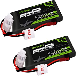 OVONIC 1000mAh 2S 7.4V 50C Lipo Battery Pack with JST Plug for RC Car Truck Truggy RC Hobby( 2 Packs)