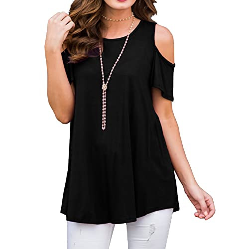 48f0076429181 PrinStory Women s Short Sleeve Casual Cold Shoulder Tunic Tops Loose Blouse  Shirts