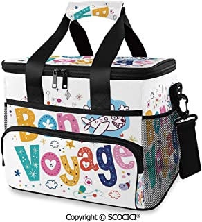 SCOCICI Large Soft Cooler Insulated Picnic Bag Happy Message Colorful Cartoon Funny Faced Airplane Journey for Grocery, Camping, Car