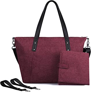 S-ZONE Large Baby Diaper Tote Bag with Changing Pad and Stroller Straps - Designer Fashion Ladies Handbag (Wine Red)