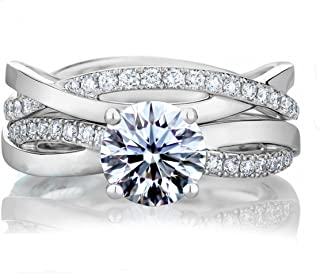 Diamonbella 10 Hearts & Arrows 81 Facets Simulated Diamond Double Infinity Ring Band Set Solid 925 Silver