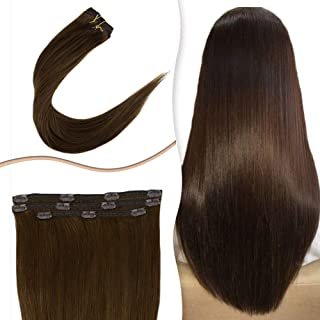 RUNATURE Double Weft Straight Hair Clip In Human Hair Extensions for African Americans #4 Chocolate Brown 12 Inch Remy Human Hair 3pcs/50g Clips In Hair Extensions