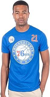Ultra Game Men's NBA Player Name And Number S/S Cttn T, Philadelphia 76ers, Royal, Medium
