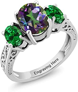 Build Your Own Ring - Personalized 3 Birthstone Ring in Rhodium Plated 925 Sterling Silver