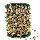 5mフェイクパールビーズストランド金ビーズの釣り糸がトリムdiyの結婚式の装飾をガーランド、金
