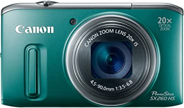 Canon PowerShot SX260 HS 12.1 MP CMOS Digital Camera with 20x Image Stabilized Zoom 25mm Wide-Angle Lens and 1080p Full-HD Video (Green) (OLD MODEL)