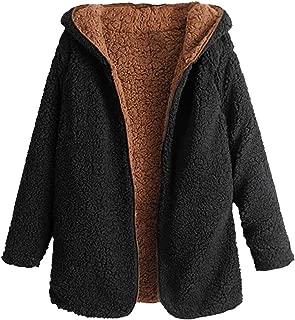 ZAFUL Women's Open Front Reversible Hooded Teddy Coat Long Sleeve Fleece Winter Cardigan Jacket