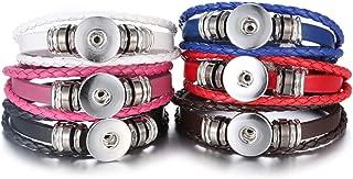 Lovglisten 6pcs Leather Bracelet Bangle for 18mm Snap Button Jewelry (1)
