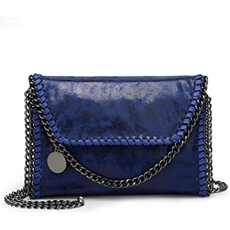Valleycomfy Damen Handtaschen Clutches Elegante Schultertasche Metallic Kette Riemen PU Leder Cross Body Taschen Handtasche