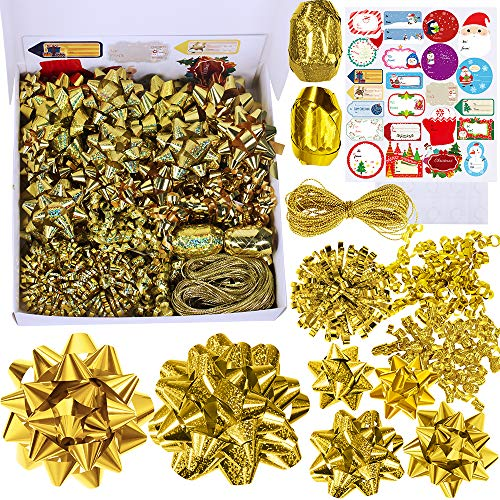48 Set Christmas Gold Gift Bows Ribbon Assortment Holiday Present Bows Gift Wrapping Package Bows Metallic Shiny and Holographic Gold Colors Bows Small Medium Big PVC Bows for Xmas Party Gift Baskets