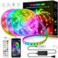 LED Strip Lights, 50ft/15M RGB Led Light Strip with Bluetooth Remote App Controller Color Changing 5050 LED Rope Lights Strip Sync to Music for Party Home Bedroom Lighting Kitchen Bed Flexible Strip