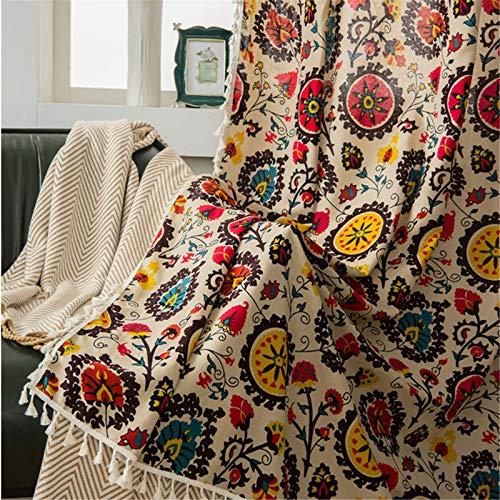 FACWAWF Cortinas De Sombrilla De Algodón Y Lino De Estilo Étnico Bohemio con Flores De Sol para El Hogar 140x215cm(2pcs)