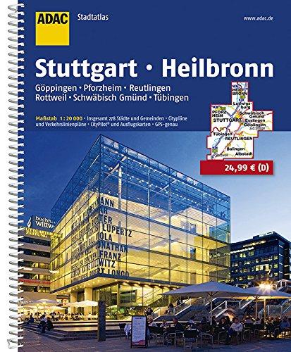 ADAC Stadtatlas Stuttgart, Heilbronn, Göppingen, Pforzheim, Reutlingen, Rottweil: Schwäbisch Gmünd, Tübingen 1:20000 (ADAC StadtAtlanten 1:20.000)