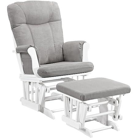 Angel Line Monterey Glider & Ottoman, White Finish - Grey Cushion