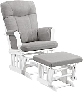 Angel Line Monterey Glider & Ottoman, White with Gray Cushion