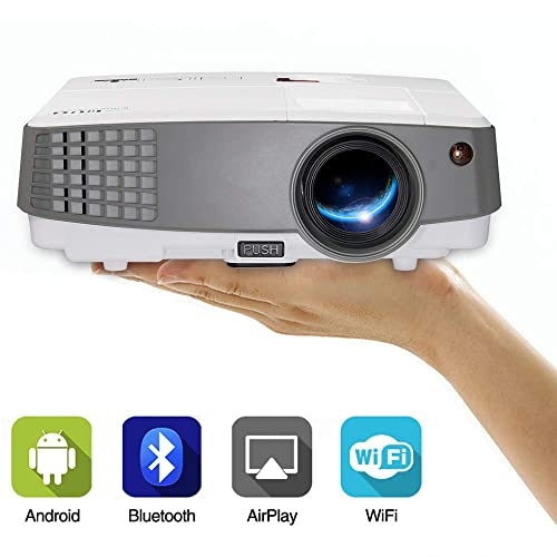 Portable Mini LCD Led Smart WiFi Projector with Bluetooth 2600lumen Multimedia Wireless Home Cinema Projector Support 1080p HD 720P HDMI USB for iPhone TV DVD PC Xbox PS4 Outdoor Gaming Projector