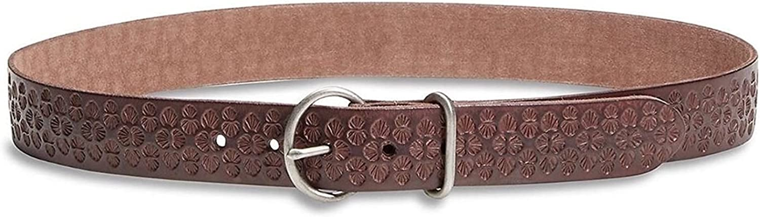 Lucky Brand  Women's  Amina Palm Leaf Embossed Brown Leather Belt