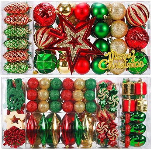 KOGLEE Bolas de Navidad para decoración de árboles de Navidad 88 Piezas, Bolas de Navidad, Árbol Top Star, Decoraciones y Decoraciones para árboles de Navidad (Rojo + Verde 87)