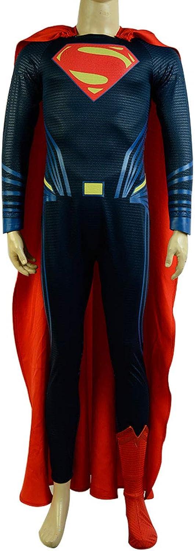 MingoTor Superheld Jumpsuit mit Umhang übermensch Cosplay Kostüm Deluxe Version Herren XXXL