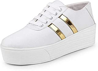 ZAPATOZ Presents Designer White Sneakers Shoes for Womens/Ladies/Female/Girls