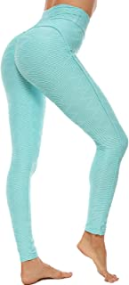 SEASUM Leggins Donna Sportivi Anticellulite Pantaloni Nido d'Ape 3D Leggings Compressione Push up Vita Alta Yoga Pants Ela...