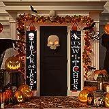 fanshiontide Signo de Porche de Halloween, Banner de Truco o Trato Banner de Porche de Bienvenida de Halloween Decoración de Fiesta de Halloween