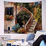 LanQiao - Tapiz rústico cómodo para decoración de terraza con flores, Grecia, decoración de habitación de niña adolescente, 139 cm de largo x 215 cm de ancho