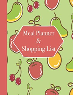 Meal Planner & Shopping List: 52 Weeks of Menu Planning Pages with Weekly Grocery Lists with Whimsical Fruit Print Cover