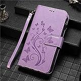 JiuRui étuis et Housses pour iPhone 12/12 Pro/Pro 12 Max 12 Mini, de Luxe Zipper Wallet Case Fleur...