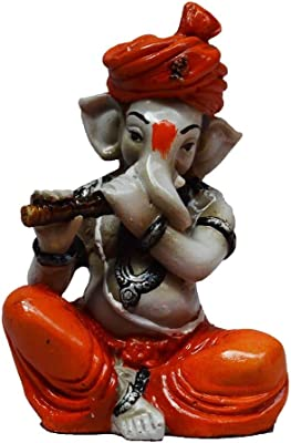 eCraftIndia Lord Ganesha Statue (7.62 cm X 7.62 cm X 12.7 cm, Orange) & Antique White Metal Photo Frame (9.5 X 0.5 X 10 Inches) Combo