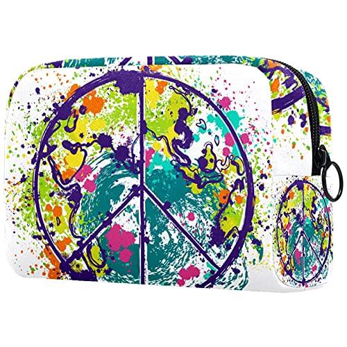 Trousse de Maquillage Organisation Rangement Cosmétique Portable Hippie-Paix-Symbol-Symbole-on-Terre-Globe pour Les Voyages Plein air