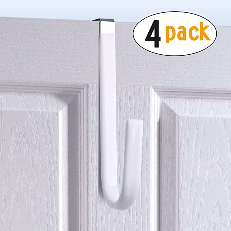 Over Door Hook White Soft Rubber Surface Design To Prevent Article Scratches Single Door Hook For Bathroom Kitchen Bedroom Cubicle Shower Room Hanging Towel Clothes Pants Shoe Bag Coat 4pack