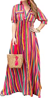 Swing Fashion Dress Colorful Stripes Printed Flowy Casual Dress for Women