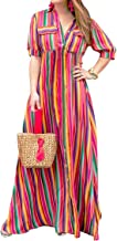 SUUKSESS Swing Fashion Dress Colorful Stripes Printed Flowy Casual Dress for Women