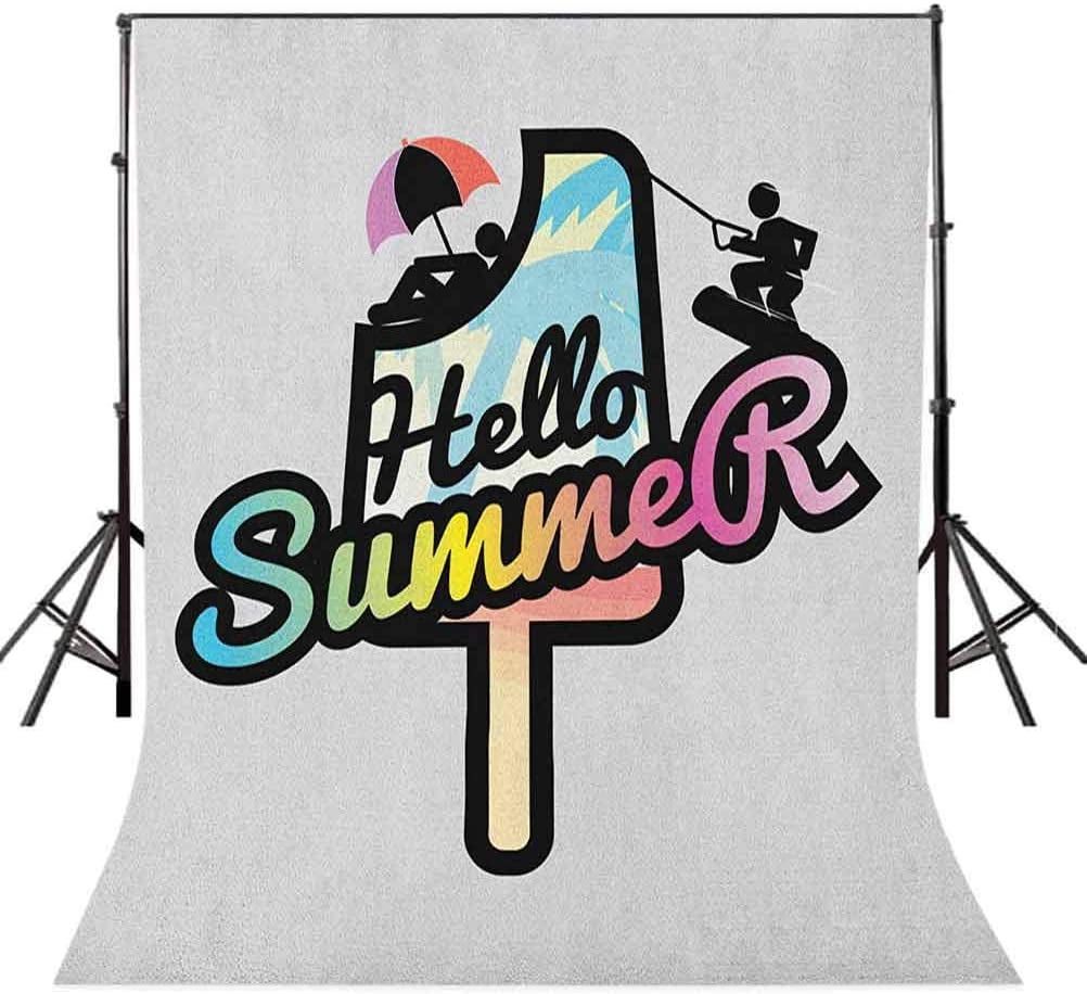 8x12 FT Vinyl Photography Backdrop,Hello Summer Phrase on Popsicle with Sunbathing and Waterskiing Men Illustration Background for Graduation Prom Dance Decor Photo Booth Studio Prop Banner