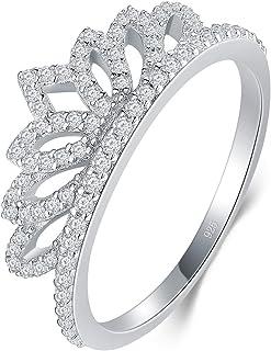 BORUO 925 纯银戒指,方晶锆石公主皇冠皇冠皇冠皇冠婚戒永恒戒指 尺寸 4-12