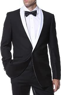 Men's Black & White Slim Fit Tuxedo Blazer Dinner Jacket