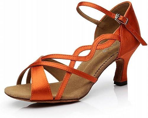 BYLE Sangle de Cheville Sandales en Cuir Chaussures de de Danse Modern'Jazz Samba Chaussures de Danse Latine Danse amitié Adultes Soft Bas Talons Hauts Escarpins Orange 7CM  livraison gratuite et échanges.